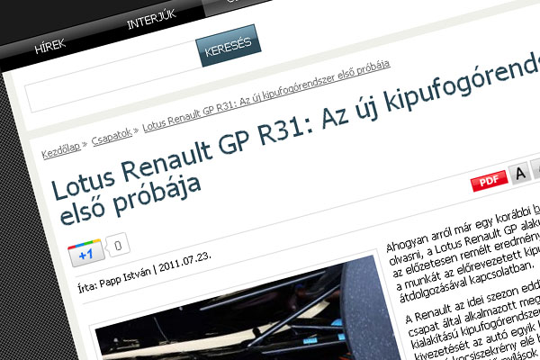 Formula1Tech Blog ajánló (Google '+1 gomb')